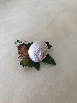 Light pink artificial peonies with succulent boutonniere for prom and Wedding](Succulent Wedding)