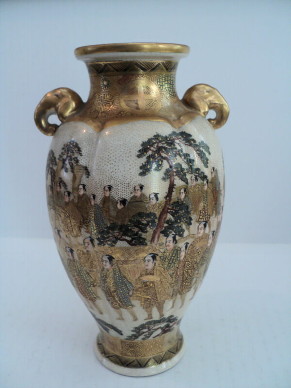 """19th C. Japanese Satsuma Hand Gilded & Enameled 7"""" Vase"""