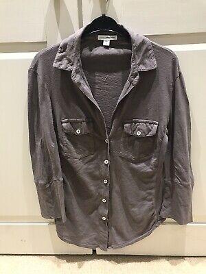 James Perse Designer  Womens Jersey 3/4 Sleeve Button Through Shirt Khaki Medium