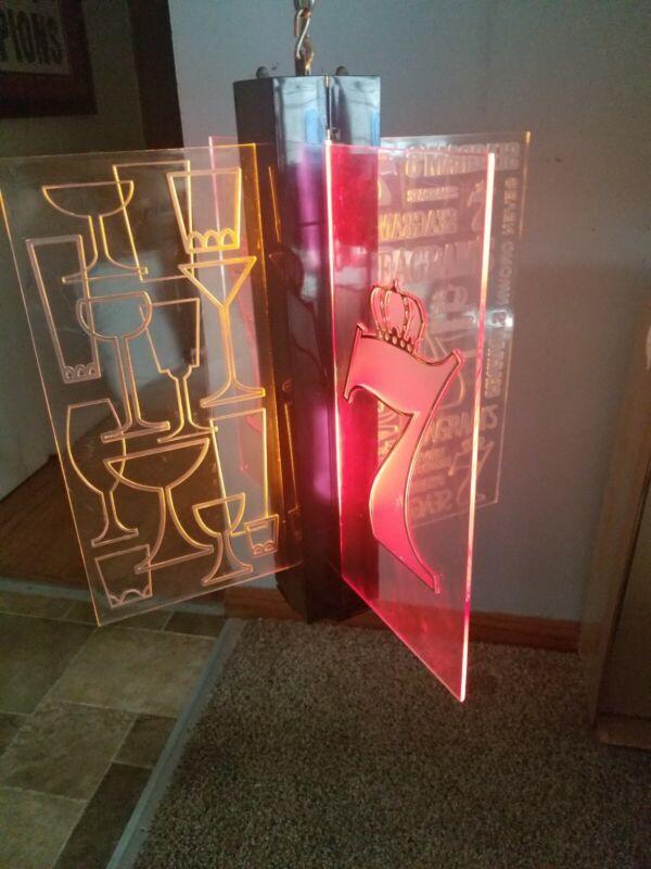 (VTG) 1960s Seagram Whiskey light up motion moving spinning bar sign & box