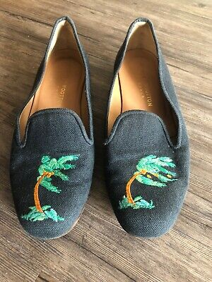 Stubbs & Wootton Mens Navy Palm Tree Slippers Loafers Size 9.5 Woven Rare Blue