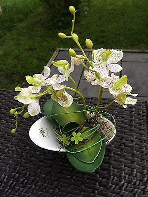 Neu lindgrün/weiß Gesteck Orchidee Kunstblumen Tisch-Deko Fensterschmuck