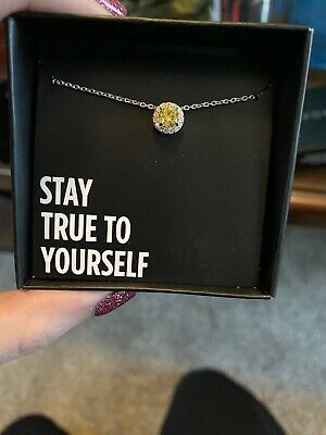 NIB Avon Sterling Silver November Birthstone Necklace With Inspirational Message