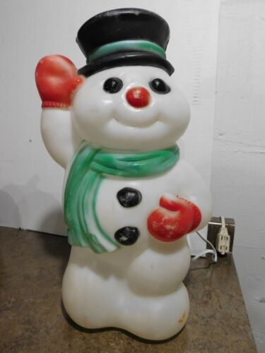 """Vtg Empire 18"""" Lighted Waving Christmas Holiday Snowman With Top Hat Blow Mold"""