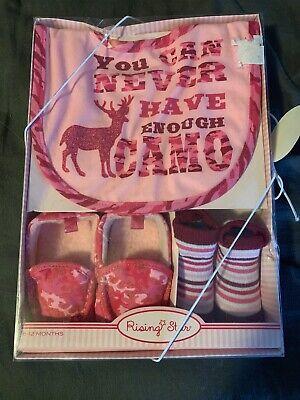 Baby Girl 6-12 Months 3-piece Giftset Pink Camo Marcussen's Deer Sock New