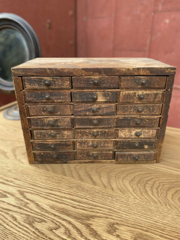 1930s 21 Drawer Apothecary Multi Drawer Cabinet Cheese Box Folk Art Primitive