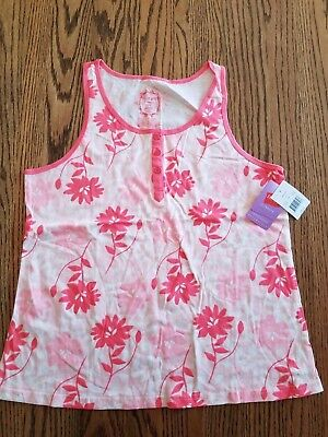 Hanes - Sleeveless Henley Pajama Shirt  - Coral/White Floral - Misses L - NWT ! ()