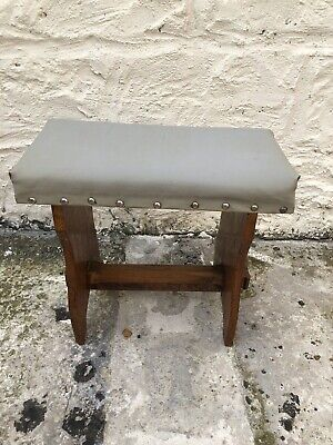 Vintage Wooden Pine Milking Stool/Footstool/Kraken Fabric Top