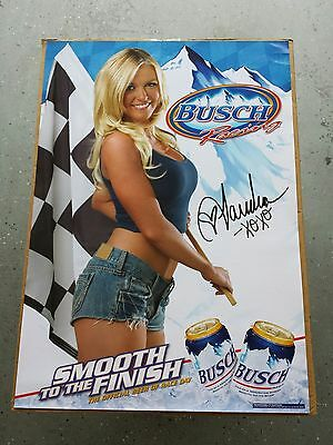 BRAND NEW Budweiser Busch Beer Racing Hot Blonde Girl Poster Hot Babe!!