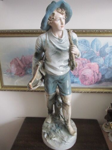 Huge Royal Dux Porcelain Fisherman Boy Figurine Art Deco Statue Sculpture 21""