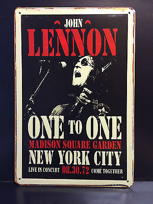 JOHN LENNON ONE TO ONE 1972 CONCERT POSTER VINTAGE STYLE METAL SIGN  20X30 CM