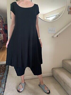 Elegant, Versatile EILEEN FISHER Double-Layer Black Silk Dress, L, Orig. $220
