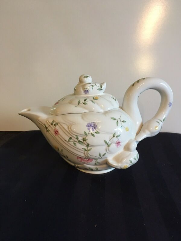Vintage Johnson Bros. Summer Chintz Series 1 Signed & Numbered Swan Teapot