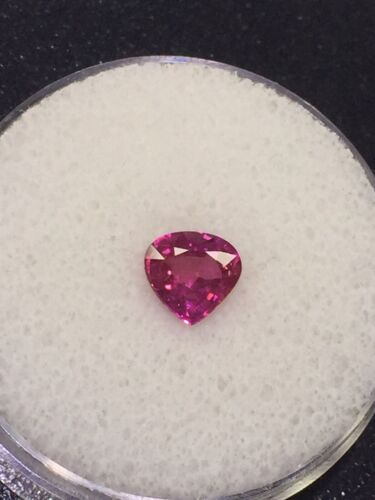 1.58 Ct Pear Shaped Purplish Red Natural Corundum Ruby GIA Certified
