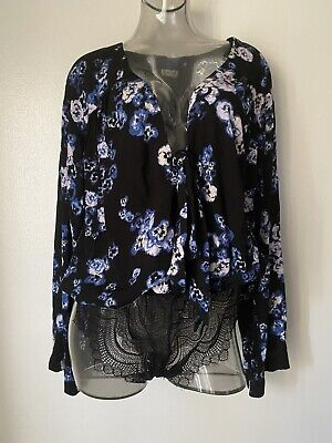Free People Forties Feels Floral Bell Sleeve Bodysuit Top BLK COMBO Sz L NWT$68