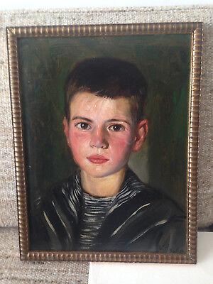 WALTER HINZE (1919), signiertes und datiertes Ölbild, Portrait eines Knaben