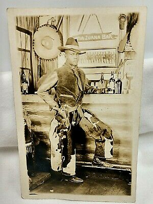 1920's Afro American Man in Cowboy Outfit at Bar RPPC Chaps & Gun in Holster