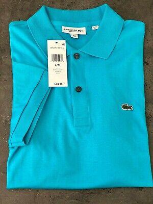 NEW Lacoste Mens M,L,XL,XXL Soft Pima Cotton Polo Shirt Turquoise Croc logo