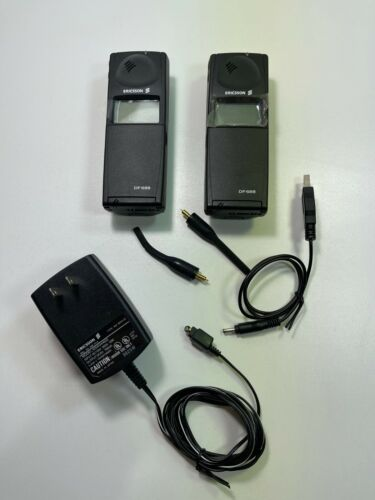 Vintage Pair of Ericsson DF688 Flip Cell Phones (1998) with Charger & USB Cord