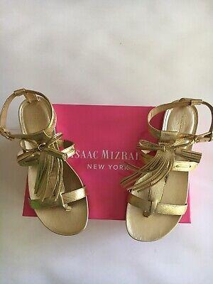 Isaac Mizrahi New York Gold Leather Fringe Women's Sandal Size 9 $120 NWT