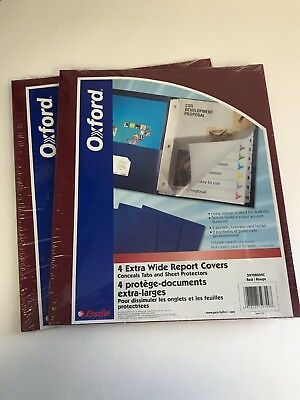 2x Oxford Extra-wide Twin Pocket Folder W 3-prong Fasteners Red 4 Pack