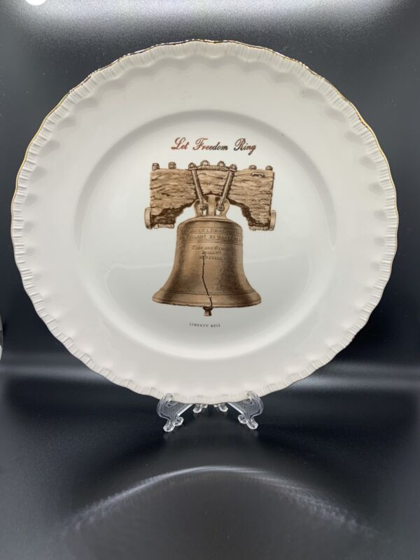 "Atlas China Liberty Bell Let Freedom Ring 10"" Souvenir Plates With 22k Gold Trim"
