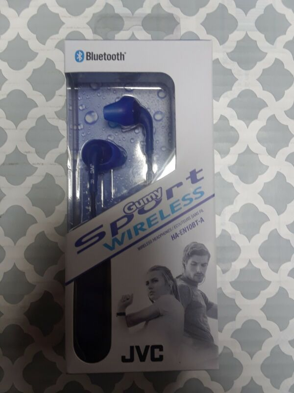 JVC HA EN10BT Gumy Sport Wireless In-Ear Headphones (iOS) Blue HA-EN10BTA