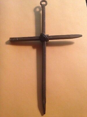 Vintage Haunted metal cross for rituals or alter  protection,healing,visions