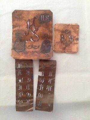 sehr alte Aussteuer Schablonen, Buchstaben in Kupferblech gestanzt