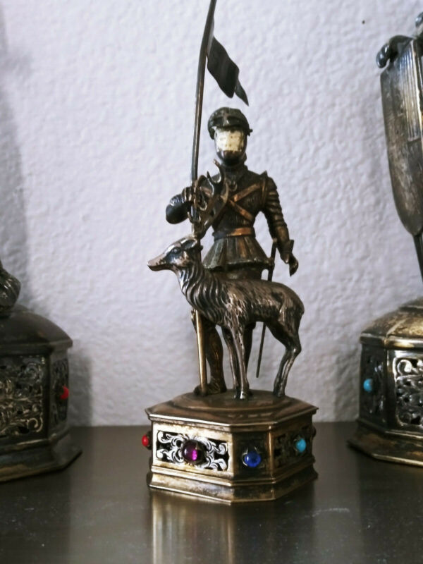 EXCEPTIONAL ANTIQUE GERMAN GUILT STERLING SILVER JEWELED FIGURE WITH STAG