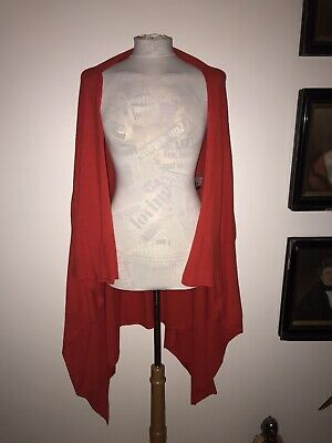 MCQ ALEXANDER MCQUEEN TOMATO RED SZ L RED LINEN BLEND LOOSE SLOUCHY CARDY