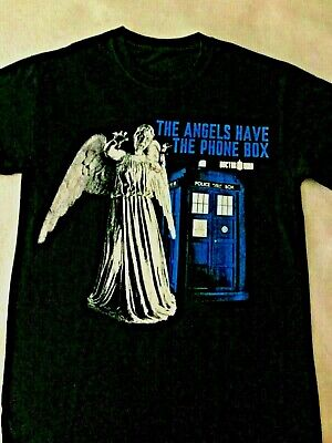 Dr Who- the Angels Have The Phone Box Tardis Black T Shirt Size Small-- BBC