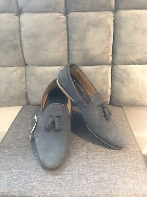 Men Topman House of Hounds loafers in light navy suede with tassel New UK8 EUR42