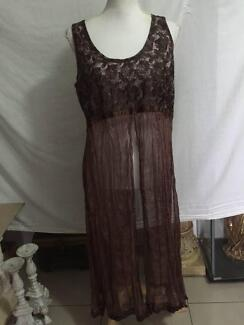 Boho Long Length Overlay Top / Dress Size 12 VGC
