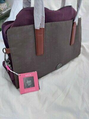 Kipling & Helena Christensen brown & purple Tote Bag with Leather Detail BNWT