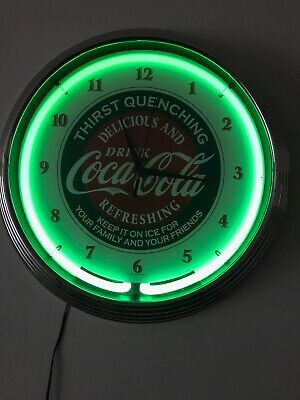 Coca-Cola Thirst Quenching Evergreen Green Neon Hanging Wall Clock 15""