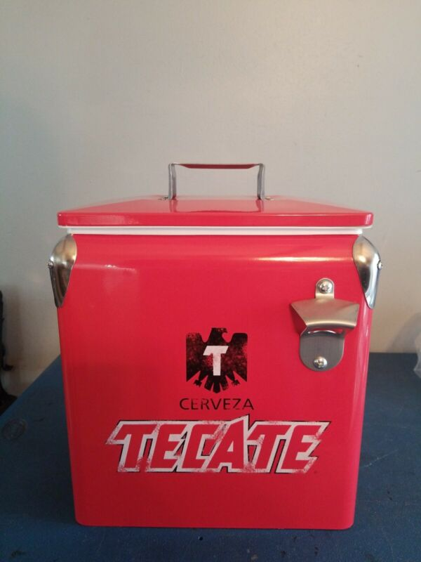 tecate beer metal ice chest can bottles  vintage retro style cerveza new mib