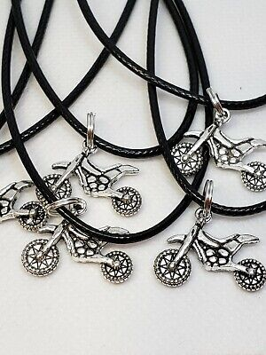 Lot of 10 necklaces ☆ birthday party favors ☆ DIRT BIKE MOTORCYCLE ☆RACING