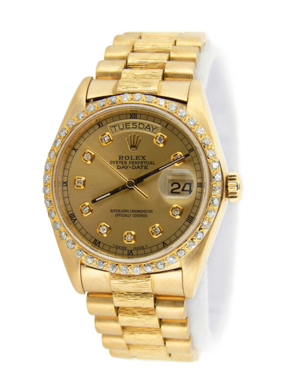 Rolex Day-date President 18078 Mens 18k Yellow Gold Watch Bark Champagne Diamond