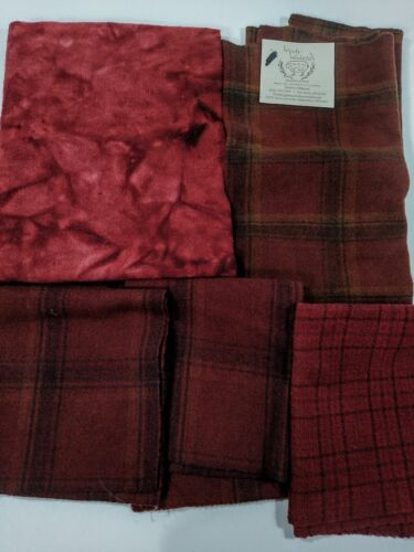 lot FELTED WOOL FABRIC penny rug hooking applique hand over dyed REDS 2lb new