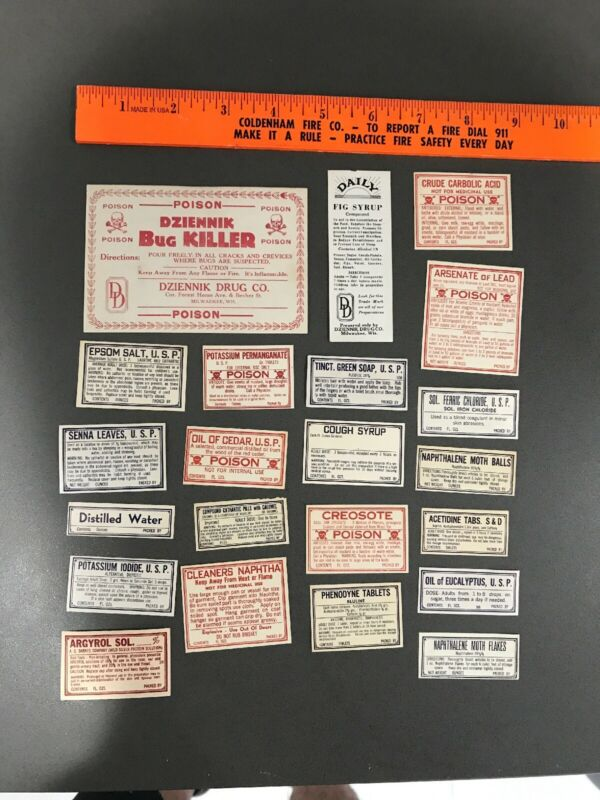 22 OLD PHARMACY-APOTHECARY-MEDICINE BOTTLE LABELS VINTAGE EPHEMERA DIFF Lot 1