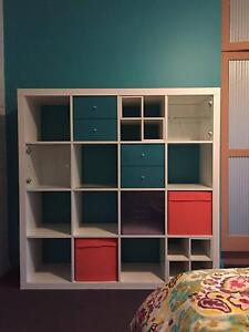 Ikea Bookcase with glass doors, drawers and fabric boxes. Kersbrook Adelaide Hills Preview