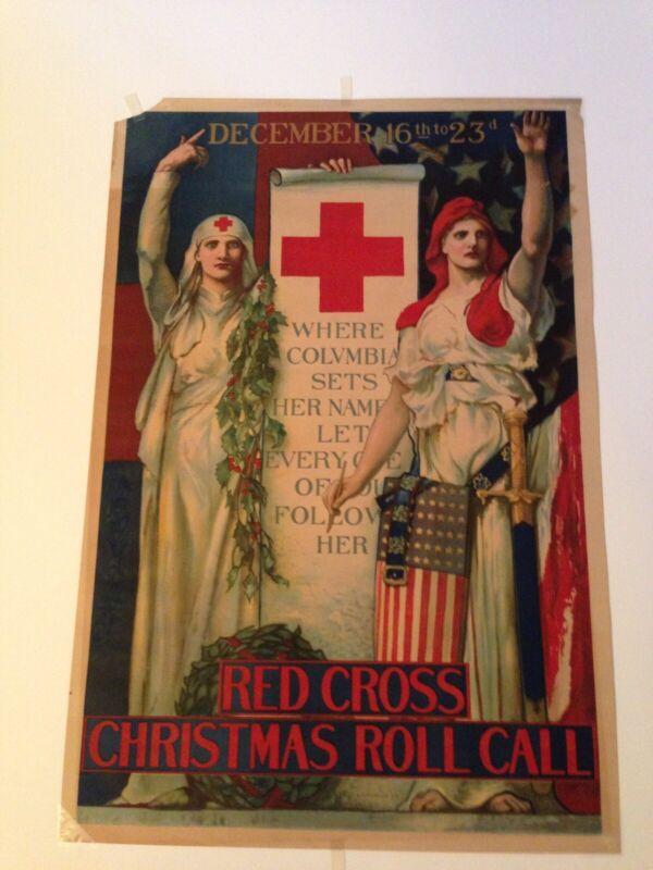 "WW1 Orginal 102yrs Old Poster ""Red Cross Christmas Roll Call"