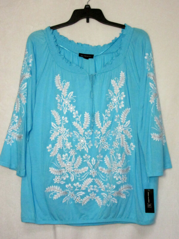 NWT INC International Concepts Woman 2X Top Aqua Blue Embroidered NEW Cat Rescue