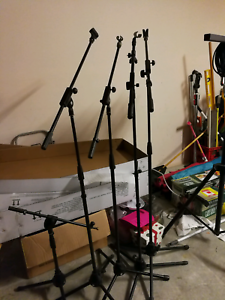 4 x Microphone boom stands with clips Pacific Pines Gold Coast City Preview