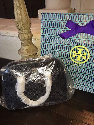Tory Burch Robinson Basket Weave Open Dome Satchel Bag Handbag NWT $525 BLACK