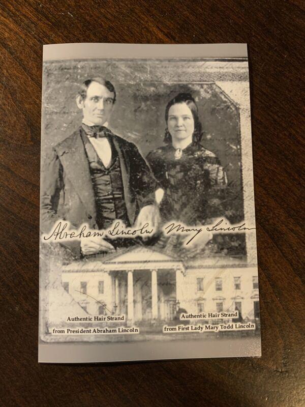 Abraham Lincoln & Mary Todd Lincoln Hair Strand Lock President COA Historic USA