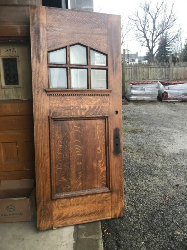 Bova Antique Oak restored craftsman style entrance door 35.75 x 83.75