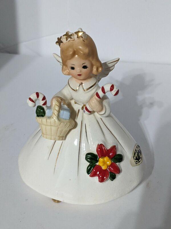Vintage Josef Originals Christmas Angel Candy Canes Poinsettia in Original Box