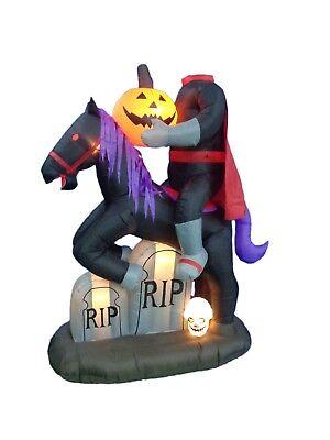 6.7 Foot Tall Halloween Inflatable Headless Horse with Pumpkin Yard Decoration